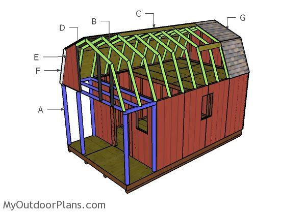 Gambrel small cabin roof plans myoutdoorplans free for Gambrel roof cabin plans