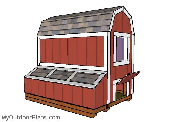 Gambrel Small Chicken Coop Nest Boxes Plans