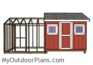 Large chicken coop plans - Front view