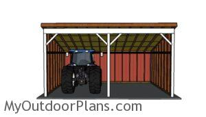 Tractor Shed Plans - Front view