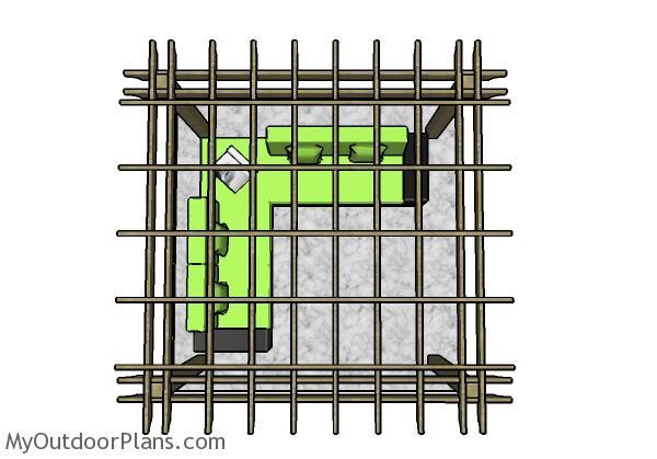 10x10 Pergola Plans - Top view