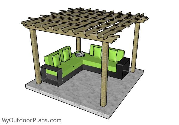 10x10 Pergola Plans - 10x10 Pergola Plans MyOutdoorPlans Free Woodworking Plans And