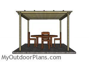 12x12 Pergola Plans - Side view