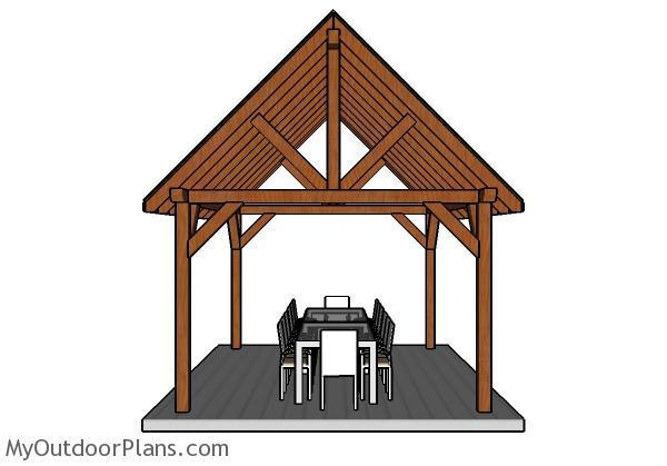 12x16 Pavilion Plans - Front view
