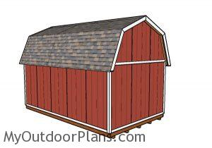 12x20 Gambrel Shed Plans - Back view
