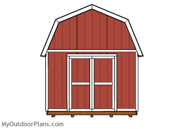 12x20 Gambrel Shed Plans - Front view