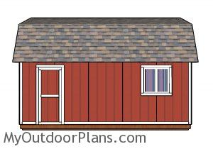 12x20 Gambrel Shed Plans - Side view