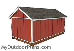 12x24 Shed Plans - Back view
