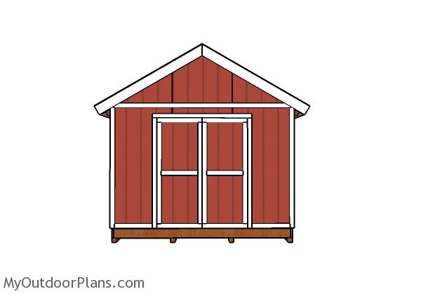 12x24 Shed Plans - Front view