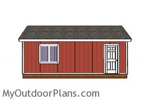 12x24 Shed Plans - Side view