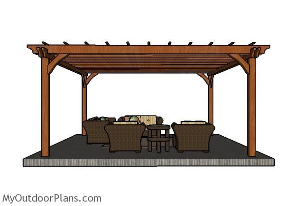 16x16 Pergola Plans - Front view