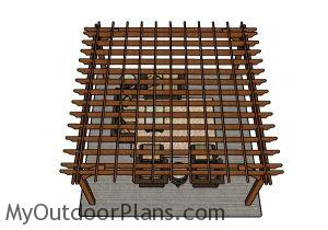 16x16 Pergola Plans - Top View