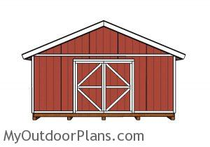 20x20 Shed Plans - Front view