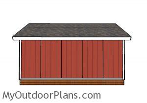 20x20 Shed Plans - Side view