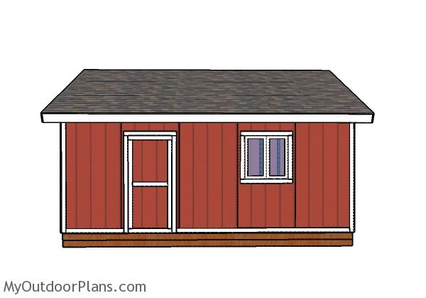 20x20 Shed Plans - Side view with windows