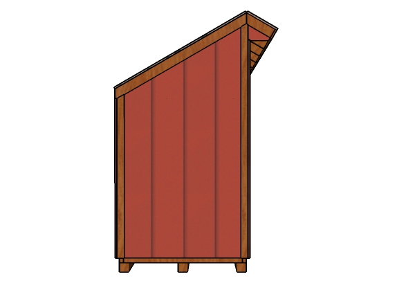 4x8 Firewood Shed Plans - Side