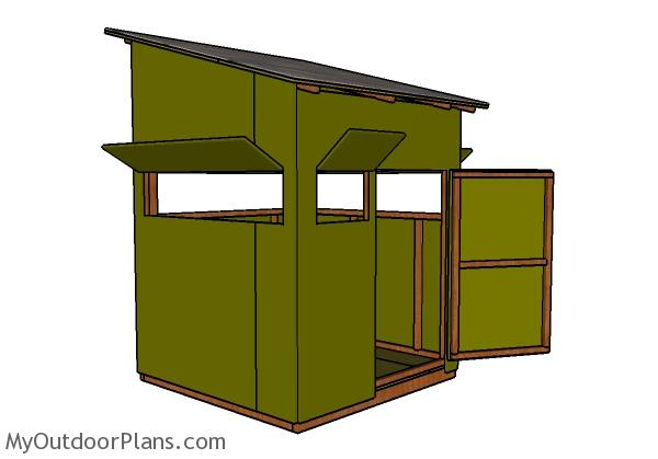 5x5 Deer Blind Plans - Back View