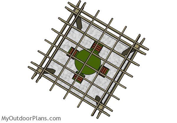 8x8 Pergola Plans - Top view
