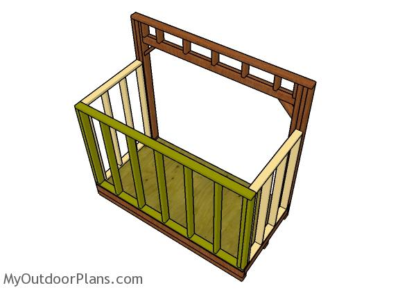Assembling the wood shed frame