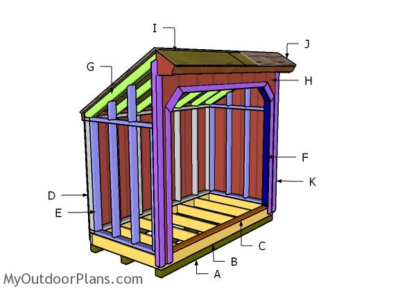 4x8 Saltbox Wood Shed Roof Plans