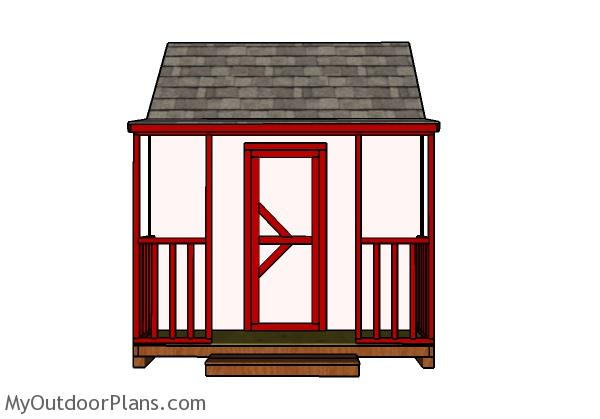 Playhouse with Porch Door and Trims Plans