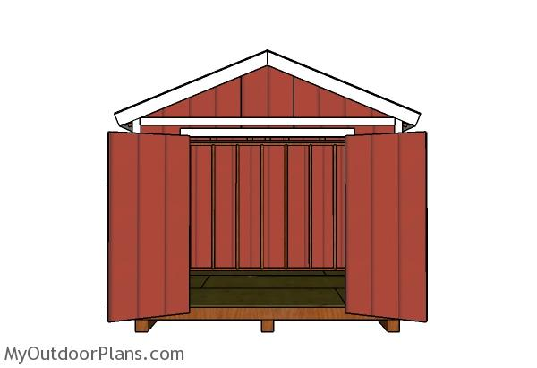 10x10 Gable Shed Plans - Front view