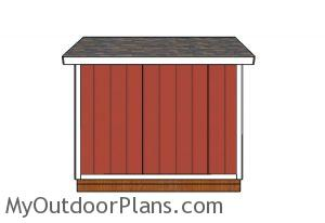 10x10 Gable Shed Plans - side view
