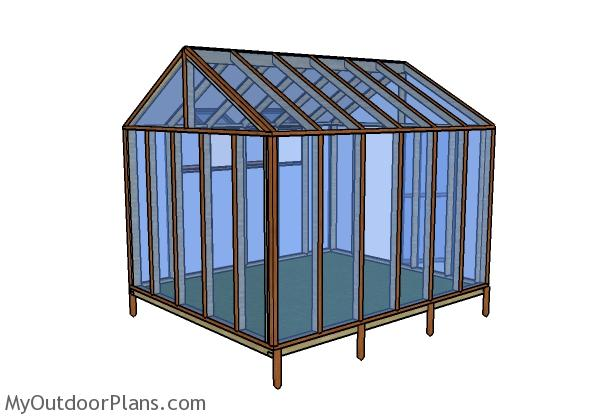 10x12 Greenhouse Plans - Back view