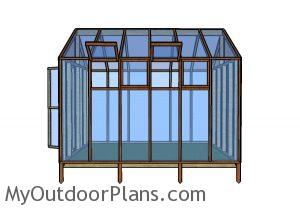 10x12 Greenhouse Plans - Side view