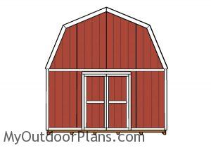 16x16 Gambrel Shed Plans - Front view