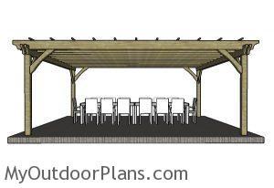 20x20 Pergola Plans - Front view