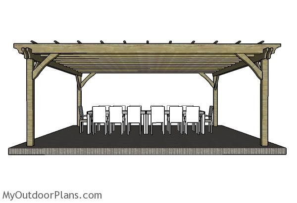 20x20 Pergola Plans - Front view - 20x20 Pergola Plans MyOutdoorPlans Free Woodworking Plans And