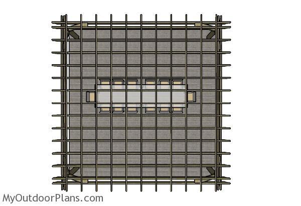 20x20 Pergola Plans - top view
