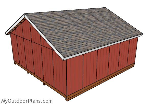 24x24 shed plans - Back view