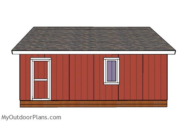 24x24 shed plans - Side view
