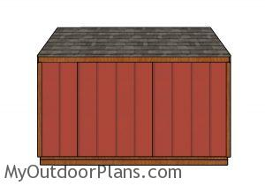 4x12 Firewood Shed Plans - Back View