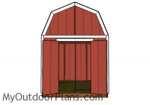 8x10 Gambrel Shed Plans - Front view