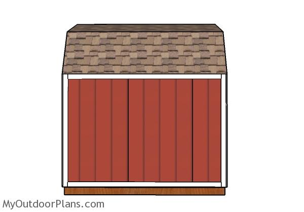 8x10 Gambrel Shed Plans - Side view
