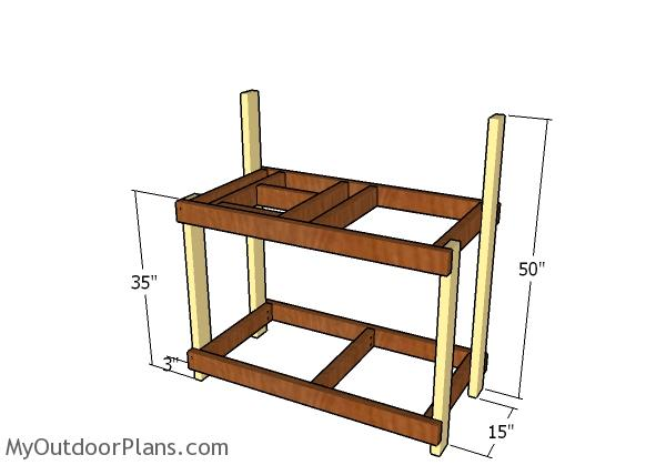 Assembling the potting bench frame
