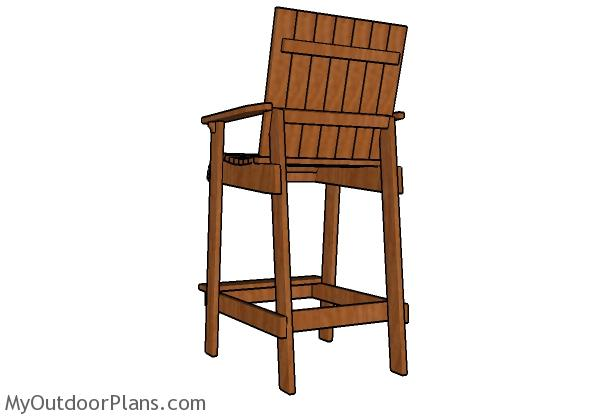 Bar height adirondack chair plans - Back view