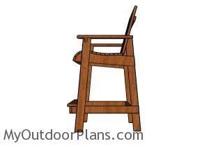 Bar height adirondack chair plans - Side view