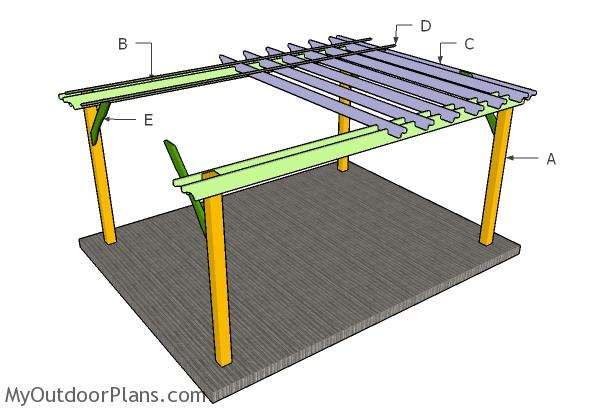 12x16 pergola plans myoutdoorplans free woodworking for 16x16 deck material list