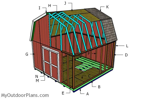 16×16 Barn Shed Roof Plans