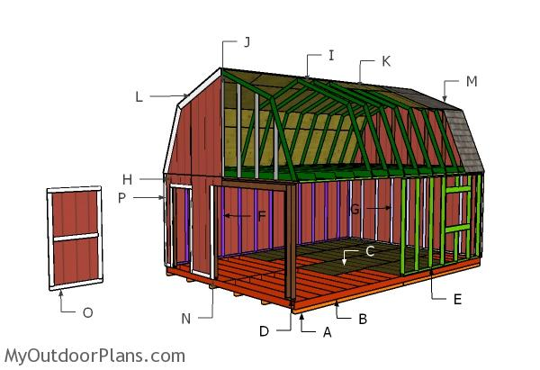 16x24 Gambrel Shed Roof Plans