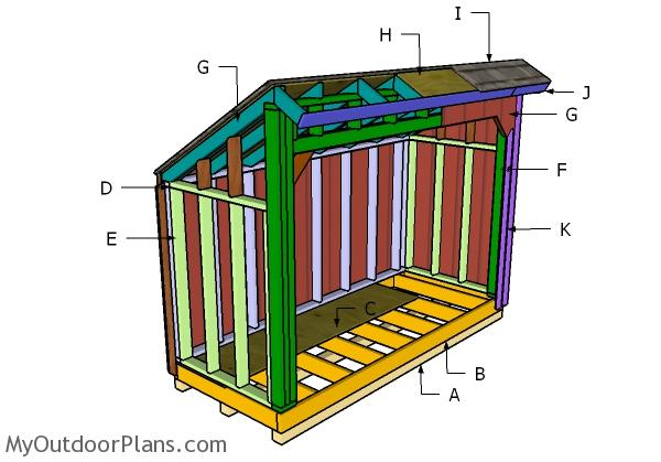 4x10 Saltbox Wod Shed Roof Plans