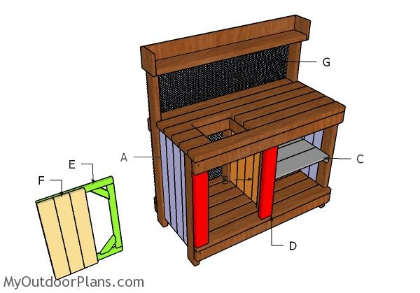 Building potting bench door