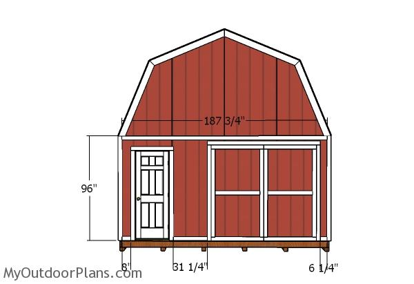16x24 Gambrel Shed Door and Trims Plans