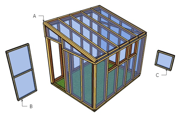 8x10 Lean to Greenhouse Trims Plans