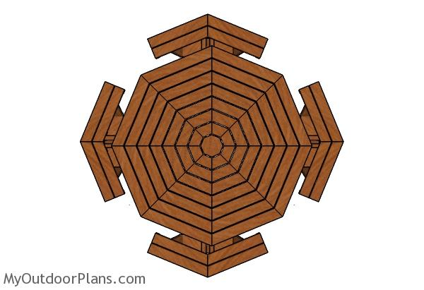 Octagonal picnic table plans - Top view
