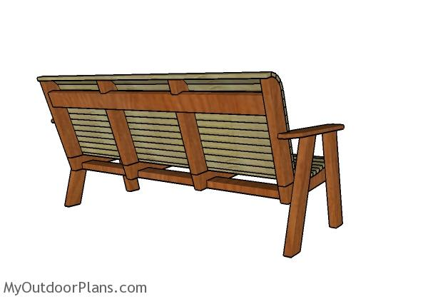 Outdoor bench plans - Back view